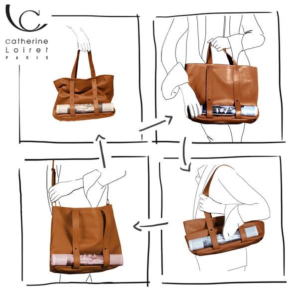 Catherine Loiret, Des sacs en cuir, raffinés, dissimulent des trésors de détails, de flexibilité et de jeux freesize-a4 caramel