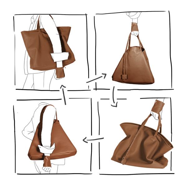 Catherine Loiret, Des sacs en cuir, raffinés, dissimulent des trésors de détails, de flexibilité et de jeux bag simpli-cube leather Caramel Catherine Loiret
