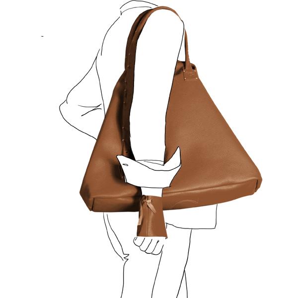 Catherine Loiret, Des sacs en cuir, raffinés, dissimulent des trésors de détails, de flexibilité et de jeux bag simpli-cube leather Catherine Loiretcaramel Catherine Loiret