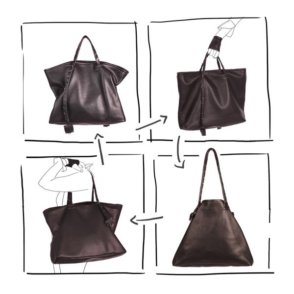 Catherine Loiret, Des sacs en cuir, raffinés, dissimulent des trésors de détails, de flexibilité et de jeux bag simpli-cube leather Catherine Loiret Catherine Loiret