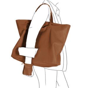 Catherine Loiret, Des sacs en cuir, raffinés, dissimulent des trésors de détails, de flexibilité et de jeux bag simpli-cube leather Catherine Loiret caramel